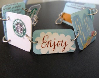 FREE SHIPPING - upcycled starbucks cuff bracelet