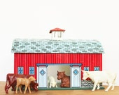 Life in the Barn - Vintage Ohio Art Tin Litho Barn and Animals - Spring - Country - Farm - Red - Kids - Rustic