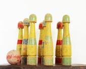 Having Fun - Antique 9 Pin Game - Skittles - Wood - Wooden - Kids - Vintage Game - Bowling - Yellow - Geometric - Striped