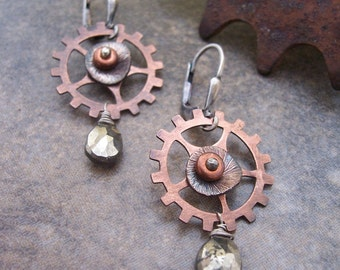 Steampunk Earrings with Copper and Pyrite, Industrial Jewelry, Pyrite Earrings, Steampunk Gears and Sprockets.,