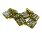 8 - Czech Fire Polished Glass Beads Carved Two Lines Square Picasso - Milky Aqua with Picasso  - 10mm - S2058a