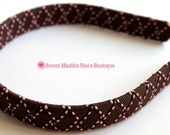 CLEARANCE--Woven Headband-Brown with Pink Stitches