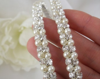 Double Bridal Headband wrapped with Pearls and Rhinestones