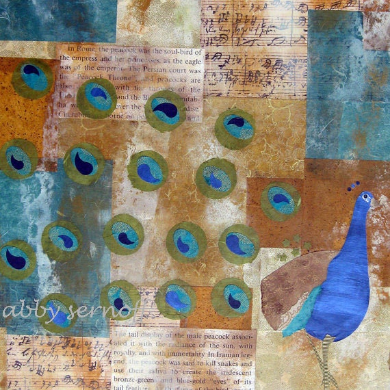 Peacock Canvas Art Original Mixed Media Collage  30 x 40 inches