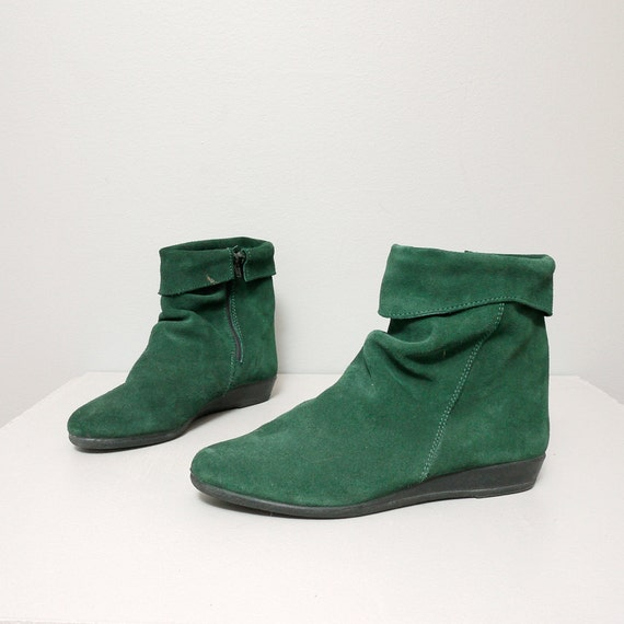 1980s ankle boots green leather slouchy by oldfaithfulvintage
