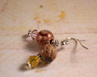 Pink Lemonade Soapstone and Swarovski Crystal Earrings