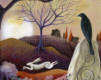 A fairytale  art print titled  Hare and Crow.