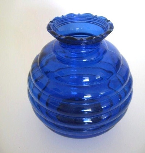Cobalt Blue Beehive Small Vase With Scalloped Rim Depression