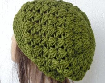 Crochet Slouchy wool  Beanie  Hat -   Crochet Beanie Hat  - Womens hat -  Olive Green  Beanie  Fall Winter Accessories  Autumn Fashion