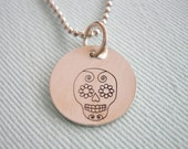 Handstamped Sugar Skull Necklace Sterling Silver
