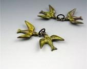 Enameled Swallow Pair / Yellow enamel / Loop on beak / Made to order
