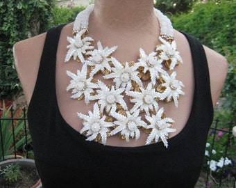In The Garden - OOAK Dramatic Large Fantasy Flower Bib Statement Necklace and Earring Set, Runway Look FREE Shipping