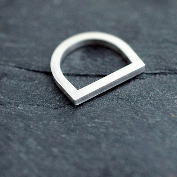 Silvery Adam smile ring