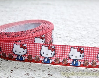 Grosgrain Gift Ribbon - Printed Kawaii Red Bow Navy Blue Hello Kitty Teddy Bear On Red Checks (W2.5CM, 1 Yard)