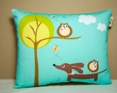 Wiener Dog Dachshund Pillow - Doxie and Owl's Day at the Park