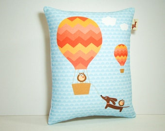 Dachshund Wiener Dog Pillow - Doxie and Owls Hot Air Balloon Ride in Tangerine
