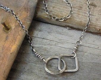 Opposites Attract Oxidized Sterling Silver Necklace