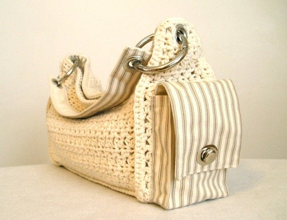 Cream and tan crocheted slouchy handbag