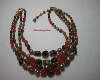 Agate Bib Necklace Vintage Four Strand Beauty Beads of  Brown Orange and Creams Autumn Magic