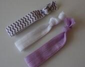 SALE - Girls Chevron, Lavender and White Elastic Hair Ties - set of 3 - ponytail holder -bracelet -  no tug, no dent