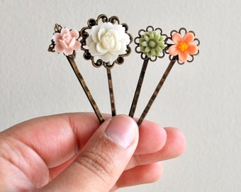 Floral Bridal Bobby Pin Hairpins Flower Hairpins Garden Wedding Woodland Colors Green Pink