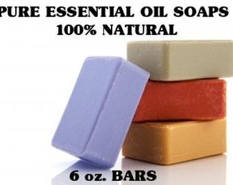Aromatherapy Essential Oil Soaps - 4 Bars - 6 oz. Bars - Vegan Soaps - Organic Soaps - All Natural - Glycerin Soaps  - Aromatherapy Soaps
