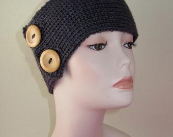 Instant Digital File pdf download  knitting pattern - 2 Button All Rib Headband Knitting pattern