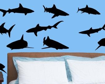 Shark Week Ocean Tiger Shark Hammerhead Deep Blue Predator Wall Decal 15 Total Sea Childs Room Play Room Kids Room Den