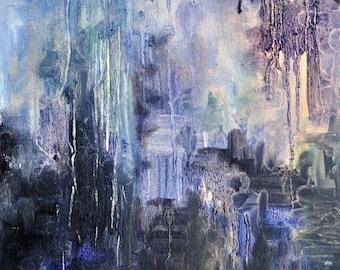 "Dark Forest  original abstract modern painting 12x16"""