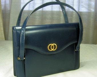 Vintage Navy Blue Handbag Purse