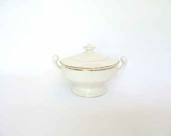Small White and Gold China Covered Dish