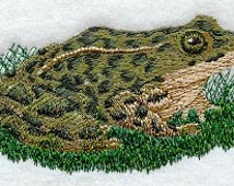 Leopard Frog  Embroidered Terry Kitchen Towel Bathroom Hand Towel
