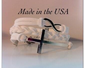Sideways Cross and Infinity Bracelet, White braided Suede Leather Sideways Cross and Infinity Bracelet