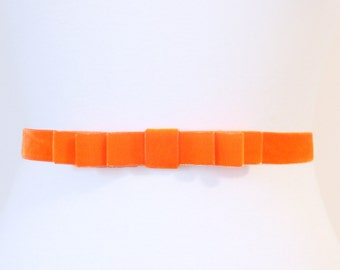 Tangerine Orange Velvet Bow Belt