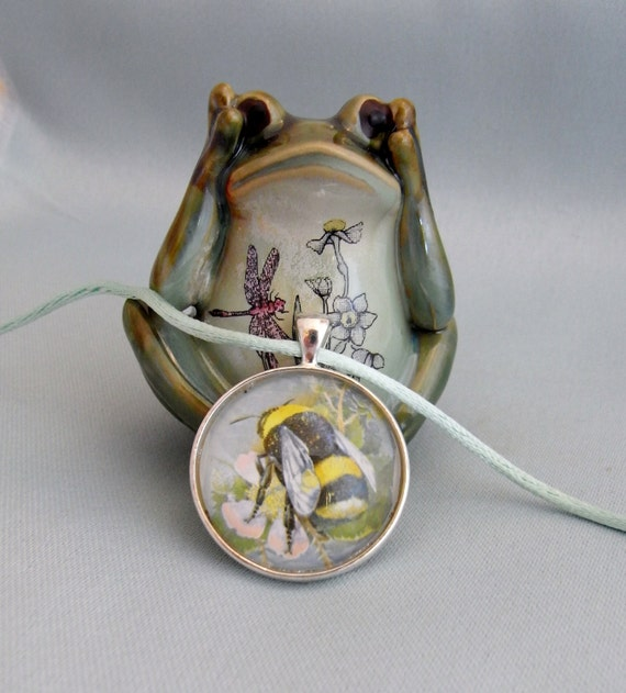 bumble bee necklace UK postage stamp altered art on satin cord. Busy Bee by starzyia