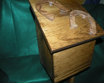 Handcrafted Wood Wooden Horseshoes Outside Storage Box Bin Holder - holds eight shoes***SALE***
