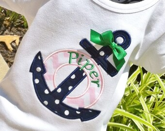 Girls Personalized Appliqued Anchor Shirt