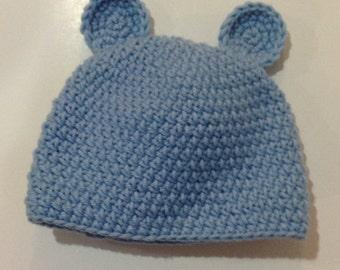 Light blue teddy bear ears beanie