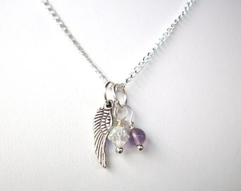 Miscarriage necklace, two birthstones and silver angel wing on silver chain infant twin loss remembrance