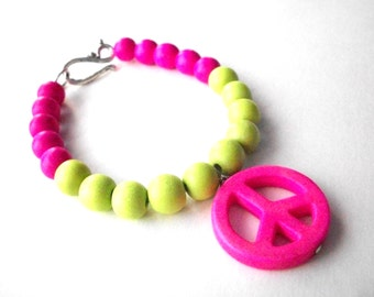 Peace sign bracelet, neon lime green and hot pink and magnesite peace sign bracelet with wooden beads and silver hook clasp, hippie jewelry