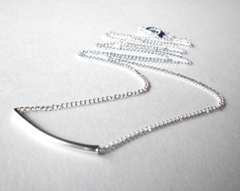 Silver bar necklace, curved tube necklace, minimalist simple jewelry