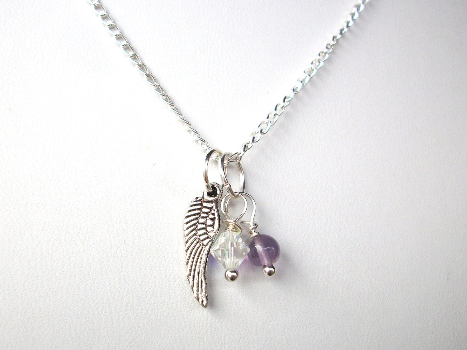 Miscarriage Necklace Two Birthstones And Silver Angel Wing On