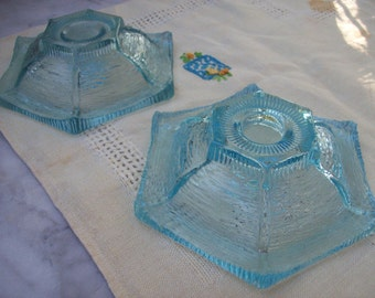 Vintage Pair of Light Blue Glass Candleholders