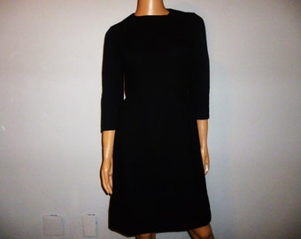 LBD - Vintage 1950's or 60's - Black - Wool - Pin Up - Bombshell - Dress - bust size 34""