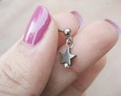 Dainty Black Star Tragu Piercing- Hematite Stone Charm Dangle Tragus Stud Post Earring Helix Bar Barbell 16 Gauge