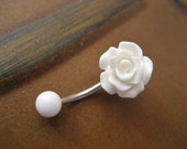 Belly Button Ring Jewelry. Rose Belly Button Ring Jewelry- White Rose Bud Rosebud Flower Navel Piercing Bar Barbell Belly Button Jewelry.