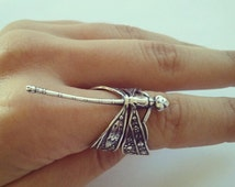Dragonfly Adjustable Wrap Ring- Whimsical Silver Plated Brass Filigree Detailed Dragon Fly 4 5 6