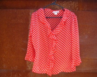 vintage 1980s polka dot blouse // red and white polka dots // ruffled blouse // size 12