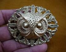 large Owl head night bird on oval filigree leaf brass pin pendant  I love owls lover birds B-Bird-542