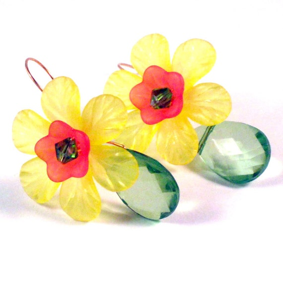 Sunny Yellow Floral Dangle Earrings, Crystal, Copper